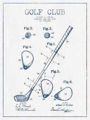 Sports Royalty-Free and Rights-Managed Images - Golf Club Patent Drawing From 1910 - Blue Ink by Aged Pixel