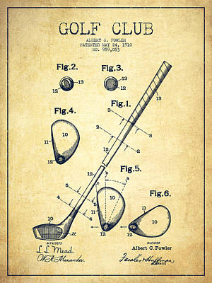 Sports Royalty-Free and Rights-Managed Images - Golf Club Patent Drawing From 1910 - Vintage by Aged Pixel