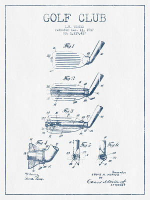 Sports Royalty-Free and Rights-Managed Images - Golf Club Patent Drawing From 1917 - Blue Ink by Aged Pixel