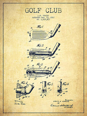 Sports Royalty-Free and Rights-Managed Images - Golf Club Patent Drawing From 1917 - Vintage by Aged Pixel