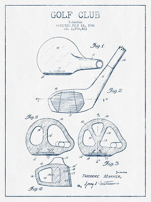 Sports Royalty-Free and Rights-Managed Images - Golf Club Patent Drawing From 1926 - Blue Ink by Aged Pixel
