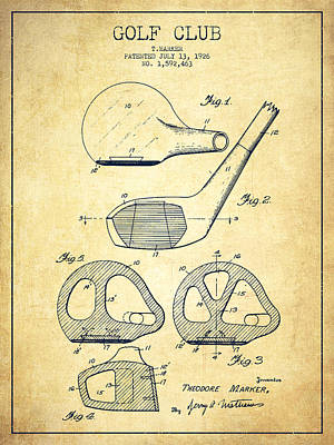 Ball Digital Art - Golf Club Patent Drawing From 1926 - Vintage by Aged Pixel