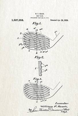 Up Up And Away - Golf Club Patent Drawing III by Sheila Savage