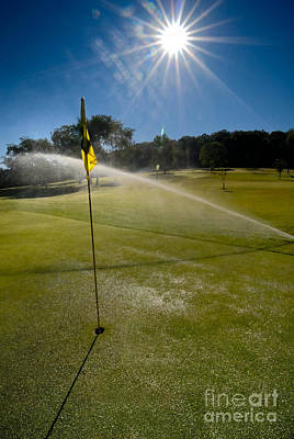 Golf Course Sprinkler On Sunny Day Art Print by Amy Cicconi