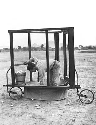 Cage Photograph - Golf Driving Range Safety Cart by Underwood Archives