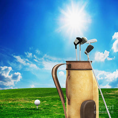 Backgrounds Photograph - Golf Equipment And Ball On Golf Course by Michal Bednarek