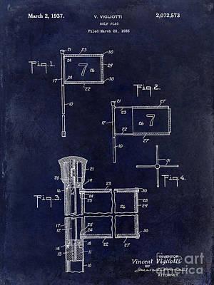 1937 Golf Flag Patent Drawing 2 Blue Print by Jon Neidert