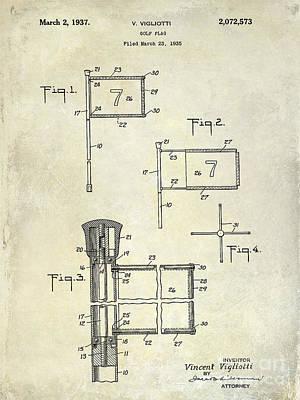 Golf Photograph - 1937 Golf Flag Patent Drawing 2 by Jon Neidert