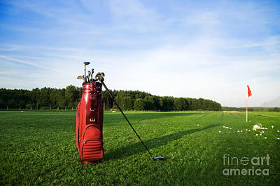 Course Photograph - Golf Gear On The Golf Field by Michal Bednarek