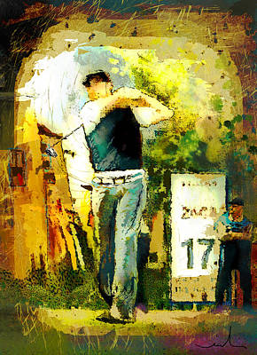 Sports Paintings - Golf Hole 17 by Miki De Goodaboom