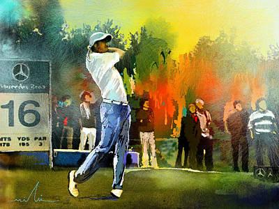 Sports Paintings - Golf in Gut Laerchehof Germany 01 by Miki De Goodaboom