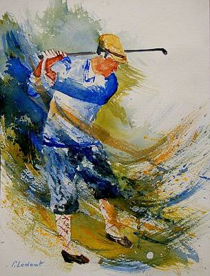 Sports Paintings - Golf Player by Pol Ledent