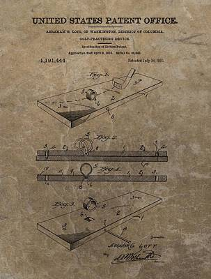 Athletes Drawings - Golf Practice Device Patent by Dan Sproul