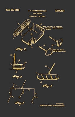 Mechanics Drawing - Golf Putter Patent 1970 by Mountain Dreams