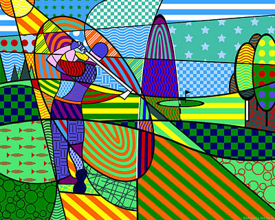 Print featuring the digital art Golf by Randall Henrie