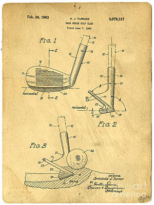 Golfer Photograph - Golf Sand Wedge Patent On Aged Paper by Edward Fielding