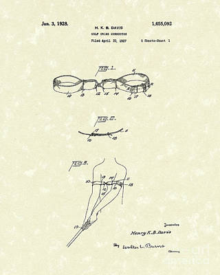 Golf Drawing - Golf Swing Corrector 1928 Patent Art by Prior Art Design