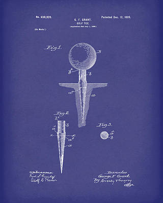 Golf Drawing - Golf Tee 1899 Grant Patent Art Blue by Prior Art Design