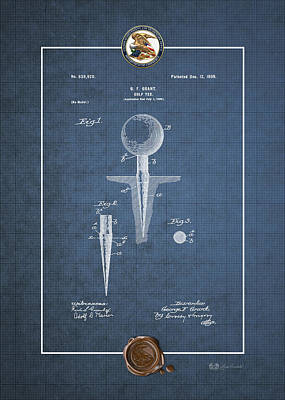 Digital Art - Golf Tee By George F. Grant - Vintage Patent Blueprint by Serge Averbukh