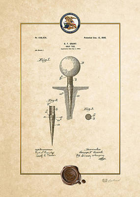 Digital Art - Golf Tee By George F. Grant - Vintage Patent Document by Serge Averbukh
