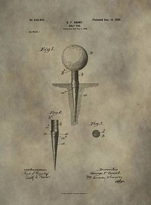 Golf Tee Patent Art Print by Dan Sproul