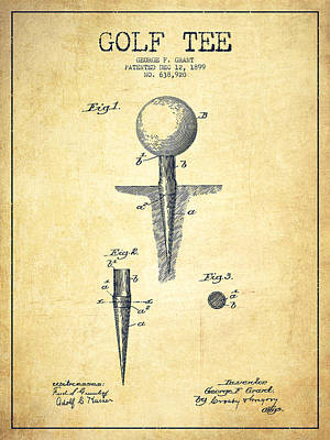 Golf Digital Art - Golf Tee Patent Drawing From 1899 - Vintage by Aged Pixel