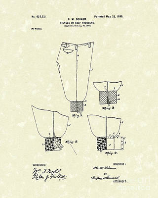 Pants Drawing - Golf Trousers 1899 Patent Art by Prior Art Design