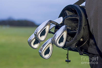 Athletes Royalty-Free and Rights-Managed Images - Golfbag with clubs by Patricia Hofmeester