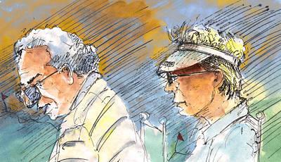 Caricature Drawing - Golfers In Soufflenheim 02 by Miki De Goodaboom