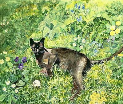 Golfing Cat Art Print by Hilary Jones