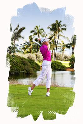 Golfing In Hawaii Art Print