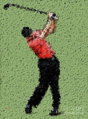 Sports Paintings - Golfing In The Zone by Sergio B