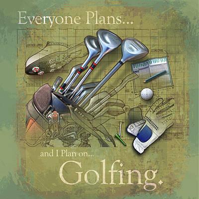Golf Art Painting - Golfing by Jim Baldwin