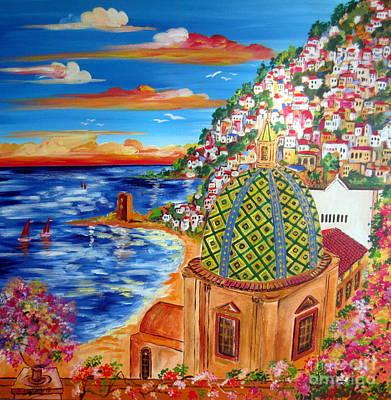 Golfo Di Positano Art Print by Roberto Gagliardi