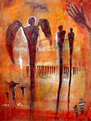 Indian Cultural Painting - Golgotha Petroglyph by Derrick Higgins