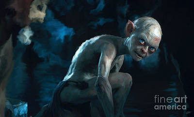 Golden Digital Art - Gollum by Paul Tagliamonte