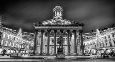 Goma Glasgow Lit Up Mono Art Print by John Farnan