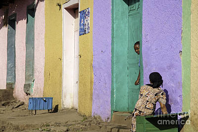 Photograph - Gonder Gondar Ethiopia Women By Bright Colour Painted Houses by Jacek Malipan