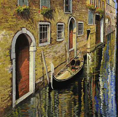 Red Door Painting - Gondola A Venezia by Guido Borelli