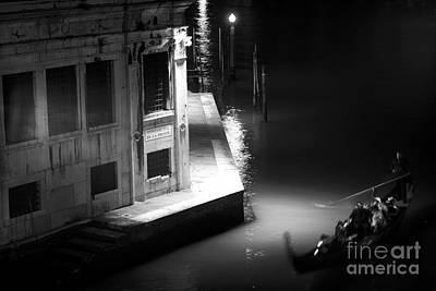 Photograph - Gondola At Night On The Grand Canal by John Rizzuto