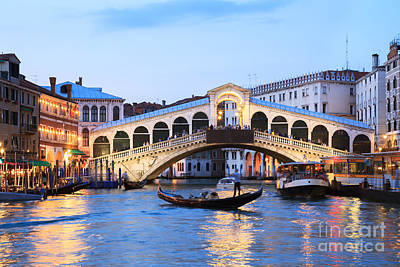 Gondola In Front Of Rialto Bridge At Dusk Venice Italy Art Print