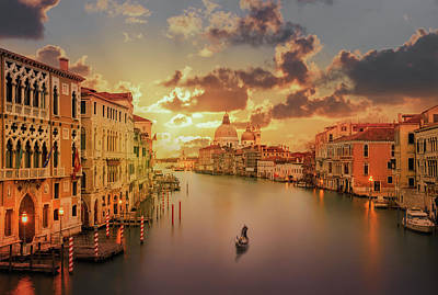 Gondola In The Grand Canal At Sunset Art Print by Buena Vista Images