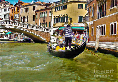 Digital Art - Gondola In Venice by Debra Chmelina