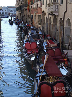 Photograph - Gondola Moorings - Venice by Phil Banks