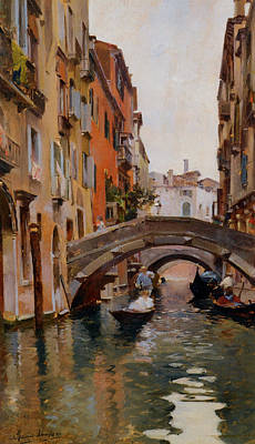 Gondola On A Venetian Canal Art Print by Rubens Santoro