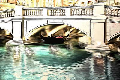 Las Vegas Artist Mixed Media - Gondola Resting Under Bridge by Viktor Savchenko