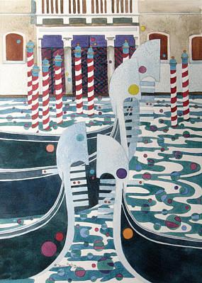 Rowing Royalty Free Images - Gondola Serenade Royalty-Free Image by Sherri Bails