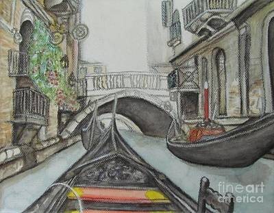 Art Print featuring the painting Gondola Venice Italy by Malinda  Prudhomme