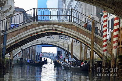 Gondolas And Bridges On Canal Art Print by Sami Sarkis