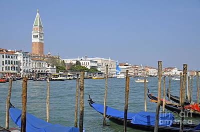 Photograph - Gondolas At Pier By Grand Canal by Sami Sarkis